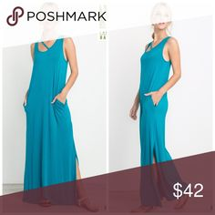 Bamboo Fabric side slit pocket maxi dress! Stunning in turquoise with side slit top strap detail and pockets Dresses Maxi