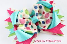 Easter hair bow, 5 inch over the top bow, Polka dot hairbow, pink blue green on Etsy, $9.99