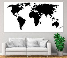 Large Black and White World Map Modern map of the world