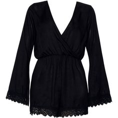 Feather Kimono Sleeve Playsuit in Black Lace Trim By Motel ($52) ❤ liked on Polyvore featuring jumpsuits, rompers, dresses, wrap romper, long rompers, long-sleeve romper, plunging neckline romper and playsuit romper