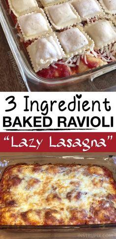 3 Ingredient Ravioli Bake (A. Lazy Lasagna) 3 Ingredient Ravioli Bake (A. Easy Casserole Recipes, Casserole Dishes, Easy Dinner Recipes, Easy Meals, Potluck Recipes, Italian Recipes, Beef Recipes, Cooking Recipes, Gourmet