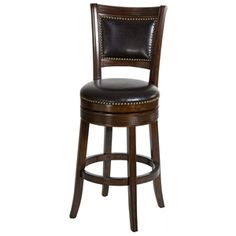 "Lockefield 30"" Wooden Bar Stool - Nail Heads, Espresso Frame"