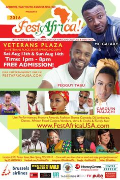 FestAfrica 2016 MC Galaxy Pegguy Tabu DJ Chick others to perform at Annual African festival   The 14th Annual African festival FestAfrica 2016 will be held at the Silver Spring Civic Center Veterans Plaza in Downtown Silver Spring MD on Saturday 13th and Sunday 14th August 2016 from 1PM  8PM on both days.  The 2-day celebration will welcome 8000 or more attendees featuring Nigerian musician MC Galaxy and Congolese sensation Pegguy Tabu. Attendees can expect a DJ jamboree featuring DJ Chick…