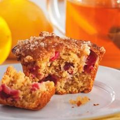Lemon Cranberry Muffins - 187 calories; 7 g fat ( 1 g sat , 4 g mono ); 18 mg cholesterol; 29 g carbohydrates; 10 g added sugars; 4 g protein; 3 g fiber