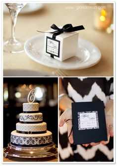 LOVE the favor boxes and the cake (again without the initial on top)