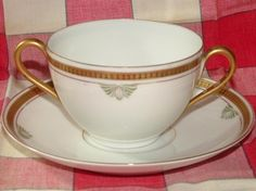 Vintage Pre 1950's Cup and Saucer White With Gold by JaysTreasures, $15.00