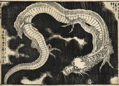 Dragon (woodcut), cutting by Egawa Sentaro; Hokusai's favorite artisan, from 'Marvels of China and Japan', Kyoto, 1850 [ed. Japanese Prints, Japanese Art, Japanese Folklore, Art Occidental, Phoenix Art, Year Of The Dragon, Japanese Illustration, Katsushika Hokusai, Japanese Dragon
