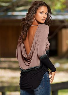 Show off your back with this low back ombre top. Venus backless dip dye top.