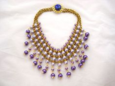 Egyptian Royalty  Glass Pearl and Rolo Chain by zoeJaneJewels1, $78.00