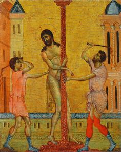 Artist:Cimabue Completion Date: 1280 Style:Byzantine Genre:religious painting Technique:tempera Material: wood Dimensions: x 20 cm Tags:Christianity, Jesus-Christ, Flagellation-of-Christ Medieval Paintings, Renaissance Paintings, Renaissance Art, Italian Renaissance, Passion Christi, Art Conceptual, Flagellation, Web Gallery Of Art, Giorgio Vasari