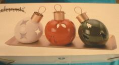 CHRISTMAS ORNAMENTS TEALIGHT CANDLE HOLDERS WITH GOLD TRAY SET OF 3 #ELEMENTS