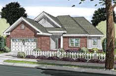 House Plan 66497 | Traditional Plan with 1121 Sq. Ft., 3 Bedrooms, 2 Bathrooms, 2 Car Garage at family home plans