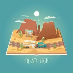 Vector 3D Paper Graphics by mikalaimanyshau Vector 3D Paper Graphics. Open book with mountain landscape. Arizona. Road in the desert. Road trip. Cardboard Graphic. SUV and tr