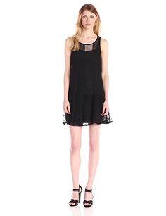 BCBG Drop Waist Sheer Dress