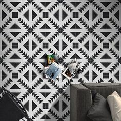 x 8 inch Floor & Wall Tadla Black and White Encaustic tile Mosaic Tiles, Wall Tiles, White Subway Tiles, Cement Walls, Black And White Tiles, Black White, Encaustic Tile, Tiles Online, Tile Installation