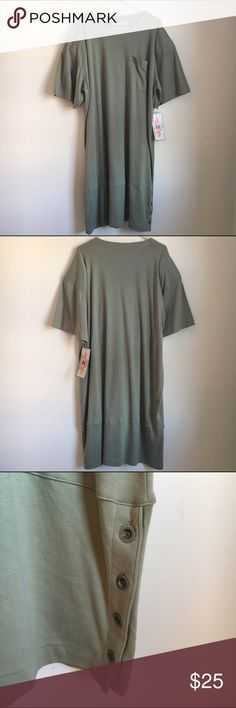 90's NWT + Size T-Shirt Dress Very Cool plus size 90's T-Shirt Dress. Polyester + Cotton. Size 26. By Zalerno International Sportswear. New with tags. This dress has thin shoulder pads. Also has buttons on the left bottom side. It's like a pale army green color. Zalerno International Sportswear Dresses