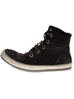 A DICIANNOVEVENTITRE - Unlined Hi-top Leather Sneaker - S13 S2/CALF REVERSE NERO - H. Lorenzo