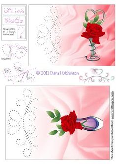 Rose in a Vase on Craftsuprint designed by Diana Hutchinson - Card fronts in two sizes