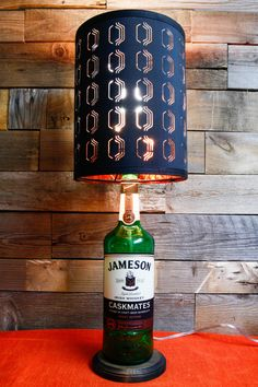 Table Lamp Jameson Caskmates Stout Bottle With Stained Wood Base & Scalloped Shade in Black or White - Ireland Whisky Whiskey Cork Dublin by DavesDoodads on Etsy