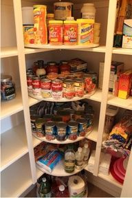 Pantry Organization***what a great idea to do this in the corner, great way to use the space
