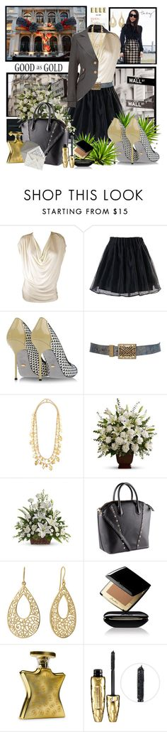 """Good as Gold"" by berry1975 ❤ liked on Polyvore featuring WALL, Damsel in a Dress, Haute Hippie, Chicwish, Sergio Rossi, Biba, Kenneth Jay Lane, H&M, Isharya and Guerlain"