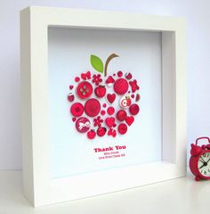 Personalised Thank You Teacher Button Apple Artwork