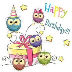 Owl with gift vector image on VectorStock Happy Birthday Pictures, Happy Birthday Quotes, Happy Birthday Greetings, Birthday Messages, Birthday Fun, Happy Birthday Child, Happy Birthday Cartoon Images, Birthday Cake, Sister Birthday