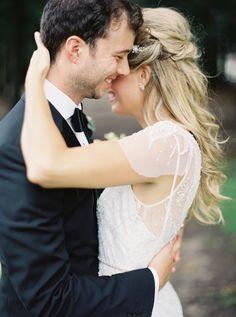 Photography : When He Found Her | Grooms Attire : Hugo Boss | Wedding Dress : Rosa Clara Read More on SMP: http://www.stylemepretty.com/2016/01/22/pretty-peach-toronto-wedding/