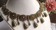 Vintage Antiqued Finish Plated Metal Link Panel Necklace of 18 Inches by SaraJewelryDesign on Etsy