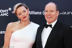 Princess Charlene and Prince Albert of Monaco oozed dazzling in black tie as they posed for photos on the red carpet of the Laureus World Sports Awards, in Salle des Etoiles, Monte Carlo.
