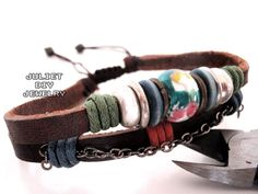 Genuine leather bracelet with beautiful flower ceramic bead,