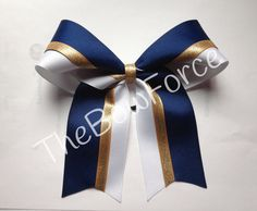 Pick Your Color Navy White Gold Cheer Bow by TheBowForce on Etsy