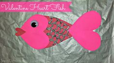 Make a heart fish for a Valentine's Day art project! You will need two pink hearts about the same size, one big red tear drop shape cut-out, a big googly eye, and a small skinny heart. Glue one pink heart on the front for the face and one on the back for the fish's tail. …