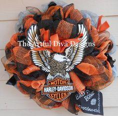 Harley+Davidson+Logo+Wreath+by+TheArtfulDivaDesigns+on+Etsy,+$75.00