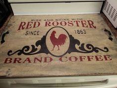 Items similar to Primitive Red Rooster brand coffee stove noodle board - hand painted. With or without sides. on Etsy Primitive Kitchen, Country Primitive, Rustic Kitchen, Primitive Decor, Farmhouse Kitchens, Kitchen Modern, Country Kitchen, Farmhouse Style, Farmhouse Decor