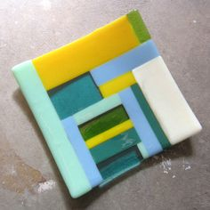 Colorful Fused Glass Plate, Glass Table Decor, Glass Home Decor, Color block. $36.00, via Etsy.