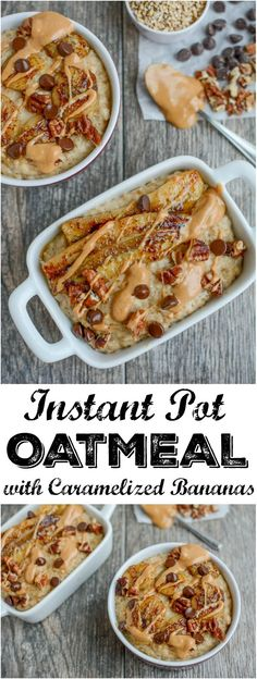 This Instant Pot Oatmeal with Caramelized Bananas is a quick, healthy breakfast option & can also be prepped ahead of time and reheated during a busy week!