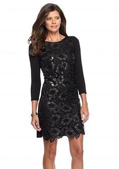 Spense Faux Leather Overlay Sheath Dress