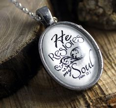 Psalm 23   He restores my soul Vintage Style Christian Pendant necklace by the Hymn Drop Shoppe