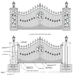 Driveway gate drawing with structural details & footings Fence Gate Design, Iron Gate Design, Aluminum Driveway Gates, Gate Designs Modern, Automatic Gate, Iron Steel, Grand Entrance, Outdoor Rooms, Rms Titanic