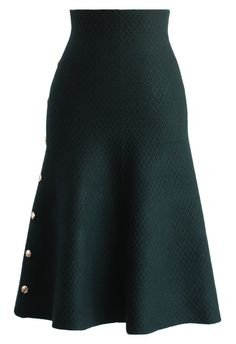 Studs Waffle Knit Midi Skirt in Dark Green - Skirt - Bottoms - Retro, Indie and Unique Fashion