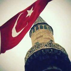 Turk bayragi, minare, en guzel turk bayragi resmi, minare resmi