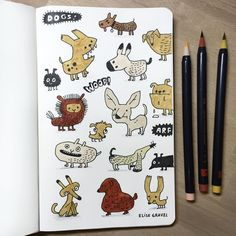 Dogs! Pick yours 🐶 For those who want to know, the markers I used are SAI watercolour brush markers (imported from Japan). #dogs #illustrationoftheday #sketchbook #sketch #dog #doodleoftheday