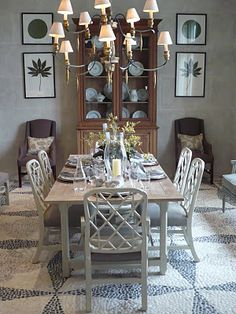 LOVE this dining room!! Suzanne Kasler Piedmont Dining Table and Linwood arm and side chairs