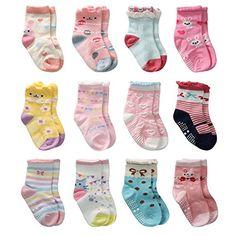 Baby Girls Anti-ski 12 Pairs Toddler Girl Non Skid Socks Cute Cotton with Grips