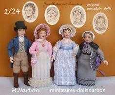 DOLLSNARBON-CATÁLOGO: 1/24 CATÁLOGO MUÑECOS (half scale Porcelain Dolls) Encargo finalizado: Jane Austen y algunos de sus personajes. Podeís ver también los dibujos que hice antes de modelar los muñecos.