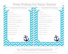 Deep Sky Blue Chevron  Nautical Wishes for Baby Sheets