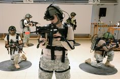 U.S. Army Soldiers, assigned to the 412th Aviation Support Battalion, conduct training using the Dismounted Soldier Training System (DSTS) at the 7th Army Joint Multinational Training Command (JMTC) in Grafenwoehr, Germany. The DSTS is the first fully-immersive visual simulation of its kind for infantry.