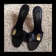 Black Gucci heels 100% authentic!Old model. Still has Neiman Marcus price tag. Some creasing and marks due to storage. Only been tried on. No dustbag or box. Gucci Shoes Heels