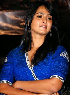 Tollywood Actress Anushka Shetty Hot Smiling Face Photos In Blue Dress